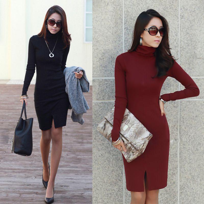 New Korean Split Design Sweater Sheath Dress Casual Turtle Neck Long Sleeve Slim OL Lady Bodycon Knit Dress