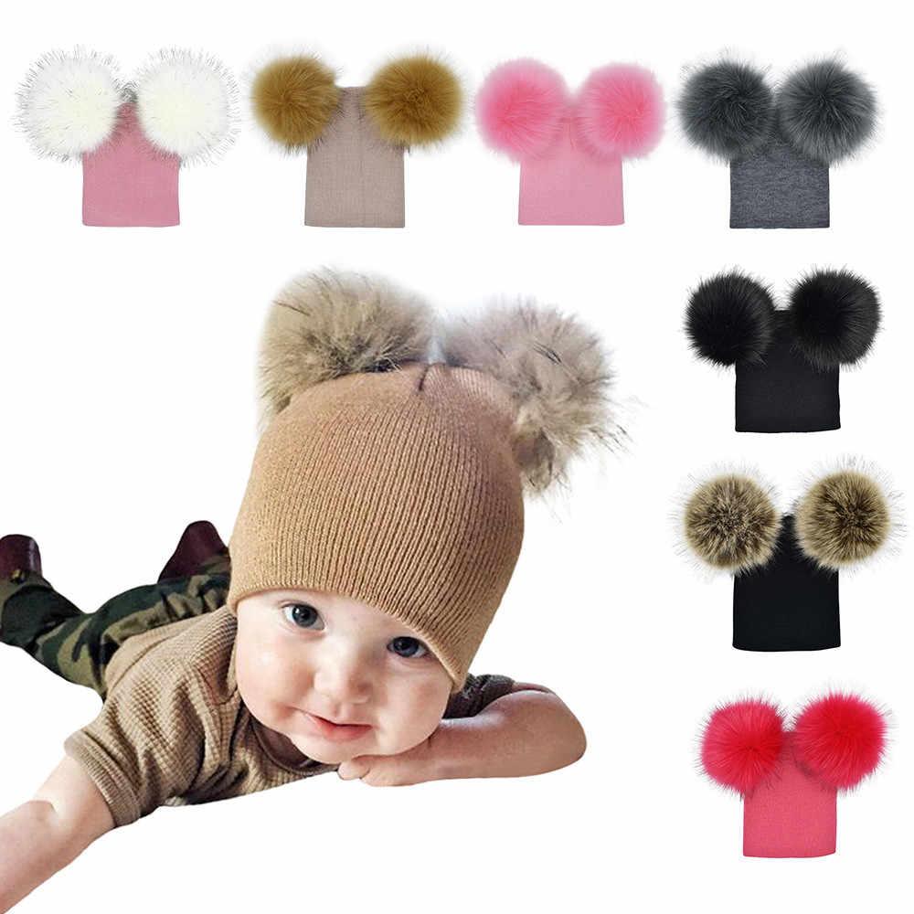 ... Hot Sale Infant Baby Girls Boys Crochet Knitted Hat Winter Warm Faux  Fur Ball Hat Baby ... ba207742415f