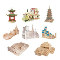 Chanycore Baby Learning Educational Wooden Toys 3D Puzzle Building House Church Imperial Palace Tower Castle Kids