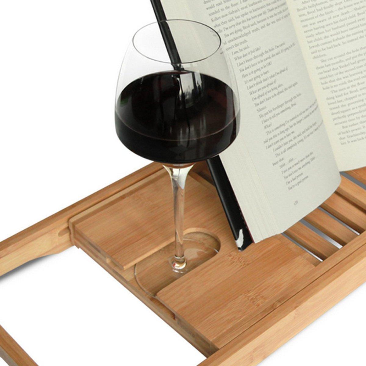 Bamboo Bath Tub Shower Tray Holder Adjustable Book Smartphone Shelf ...