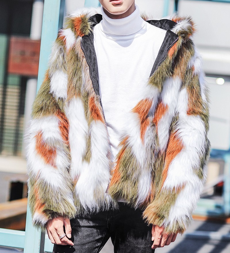 Colorful Fur Coat Men Winter Warm Short Style Outwear Faux Fur Coat For Men Fur Jacket Coat Fur Overcoat Chaqueta Cuero Hombre