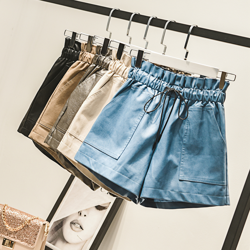 New Autumn Winter Fashion Elastic Waist Drawstring PU   Shorts   Women Vintage Wide Leg   shorts   Solid Faux Leather   Shorts   Female M505