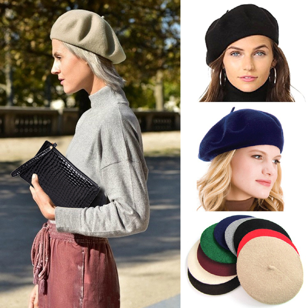 Elegant Lady Women Wool Felt Warm French Classic Beret Beanie Slouch Hat Cap Tam(China)
