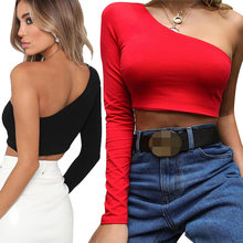 One Shoulder Slope Neckline T Shirt Sexy Solid Long Sleeve Women's Tshirt White Black Crop Top Ladies T-shirt 2019 New Fashion(China)