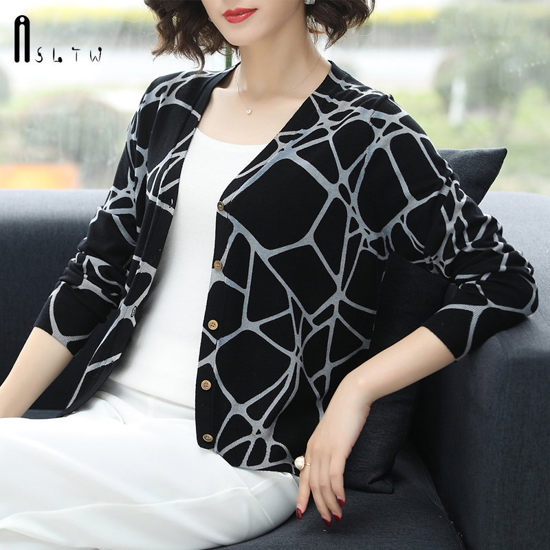 ASLTW Autumn Printed Sweater Women New Fashion Geometric V Neck Cardigan Female Plus Size Knitted Top Jumper Sweater