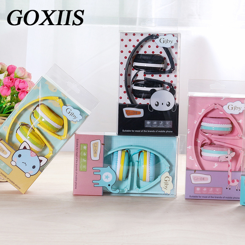 GOXIIS Cute Headphones Candy Color Collapsible Children's Headphones Mp3 Smartphone Girl Child PC Laptop zuczug hot birthday gifts cute headphones candy color foldable kids headset earphone for mp3 smartphone girl children pc laptop