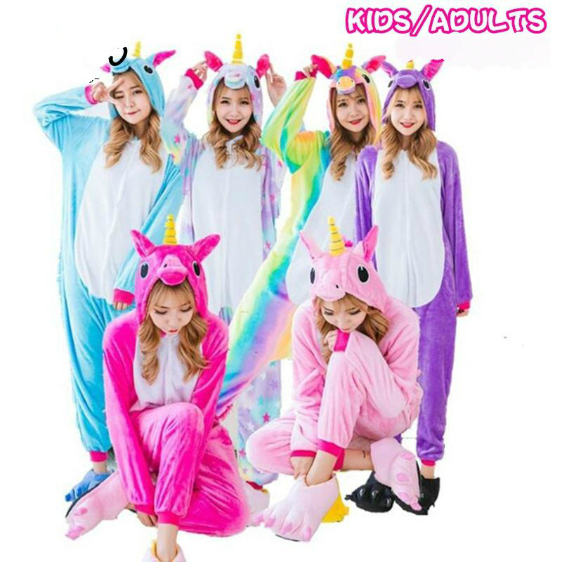 Unicorn Flannel   Pajamas     Sets   Animal Parent-child Winter Cosplay Women Men Sleepwear Unisex children Kigurumi Unicornio Home Hot