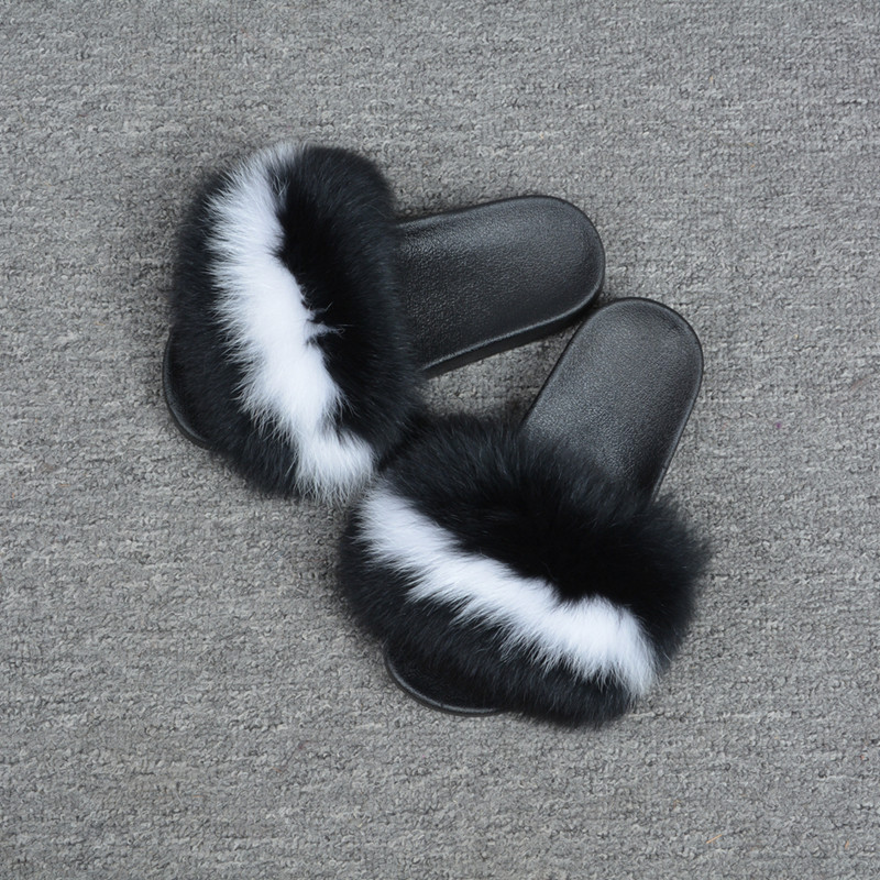 Original 2018 Real Fox Fur Slippers Women Fashion Sliders Spring Summer Autumn Fur Slides Indoor Outdoor Sandals Flat Gloves Apparel Accessories