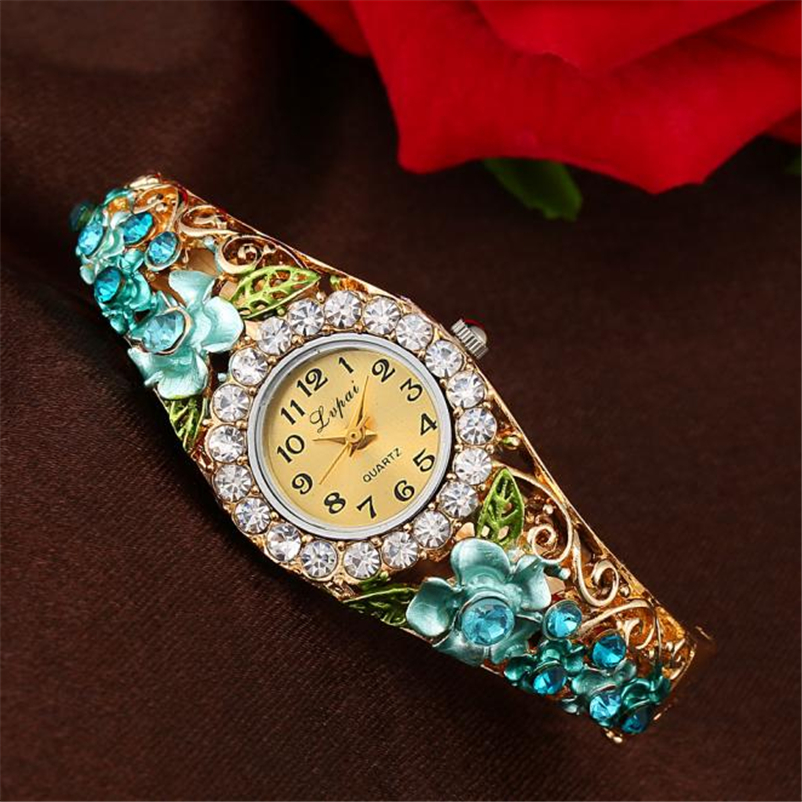 Lvpai Brand Luxury Women Watch Fashion Multicolor Gemstone Vintage Flower Bracelet Wristwatch Quartz Sport Casual Watch MP040