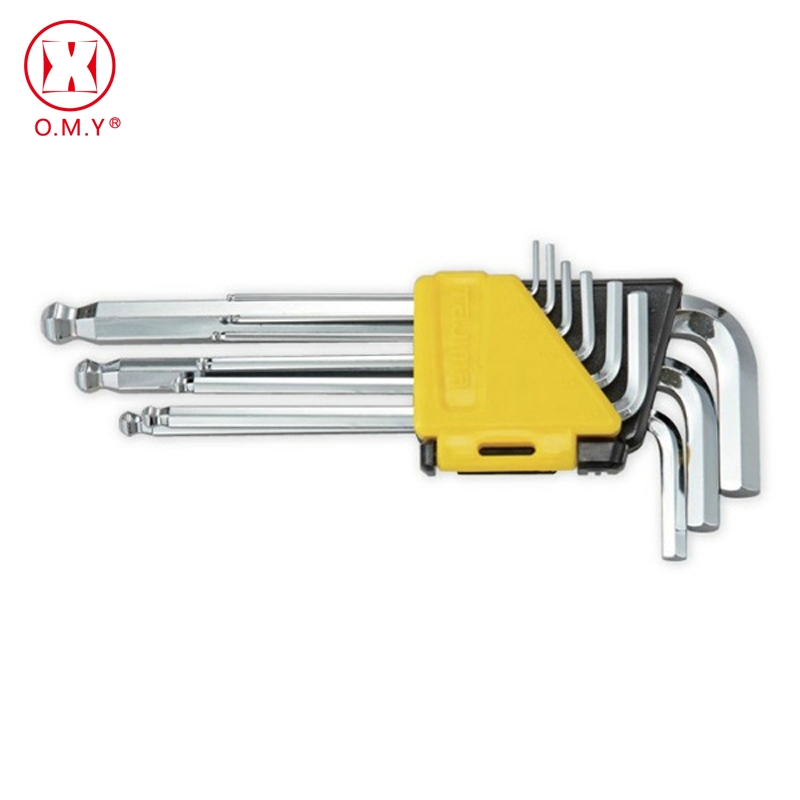 OMY New 9Pcs High Chrome Vanadium Steel L-Shape Hex Key Repair Tools Powerful Type Allen Wrench Set Middle Ball Head Allen Key inner hexagon key wrench set professional tools set l wrench set 9 pcs