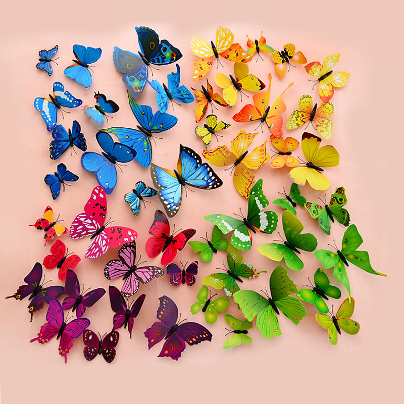 New 3d butterfly wall sticker beautiful home room decoration decorative art design friger decor - Latest beautiful wall decoration ...