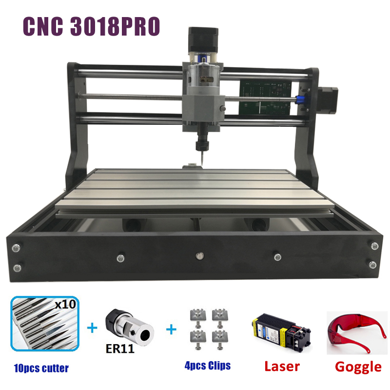 CNC 3018 PRO Laser Engraver Wood CNC Router Machine GRBL ER11 Hobby DIY Engraving Machine For Wood PCB PVC Mini CNC3018 Engraver(China)