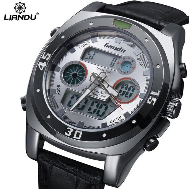 LIANDU Multifunction Sport Watch Digital Waterproof 3ATM Men's Quartz Movement Analog Digital Date Alarm Military Men Stopwatch
