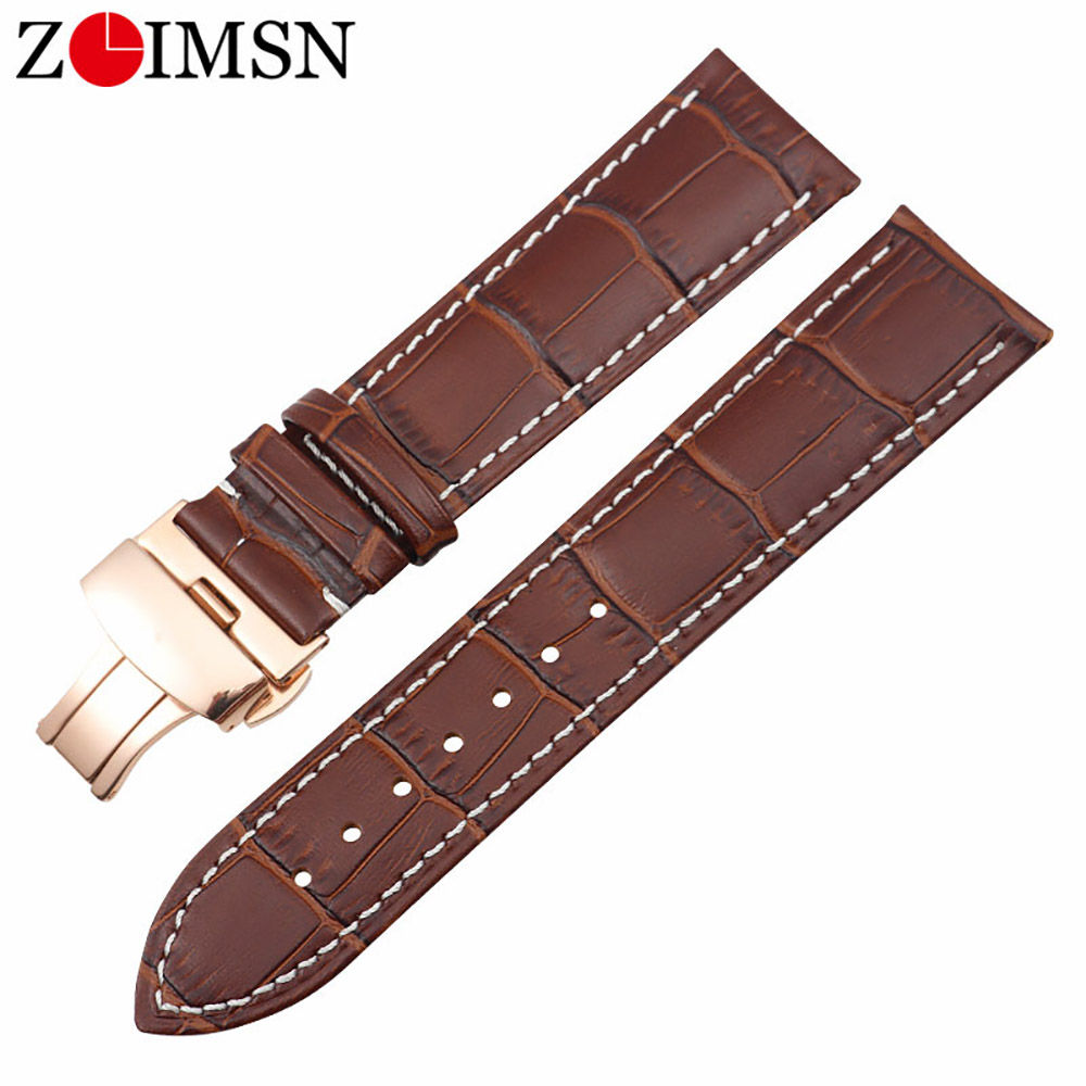 ZLIMSN Universal Leather <font><b>Watchband</b></font> 16mm 18mm 19mm <font><b>20mm</b></font> 21mm 22mm 24mm For Huawei watch gear s2 s3 Tissot <font><b>Seiko</b></font> DW Wristband image