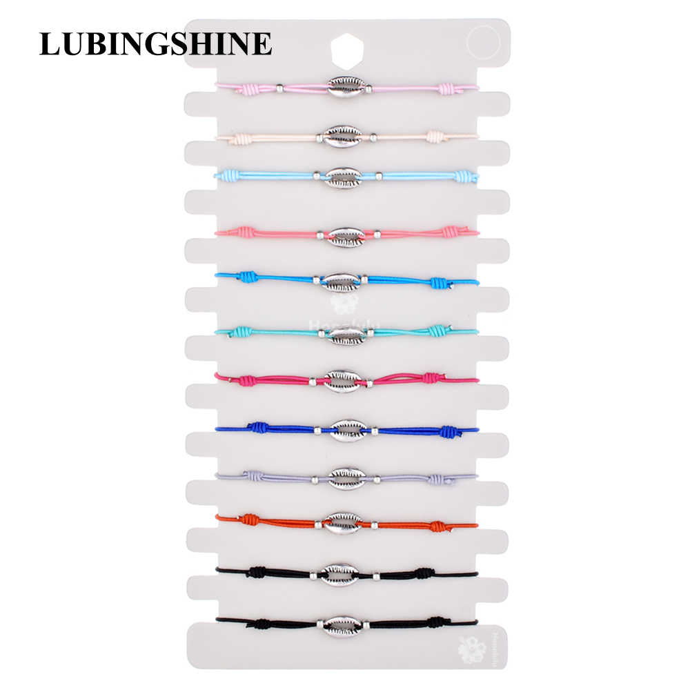LUBINGSHINE 12pcs/lot Charms Elastic Wax Rope Braided Leather Bracelets & Bangles For Women Man Adjustable Pulseria Jewelry
