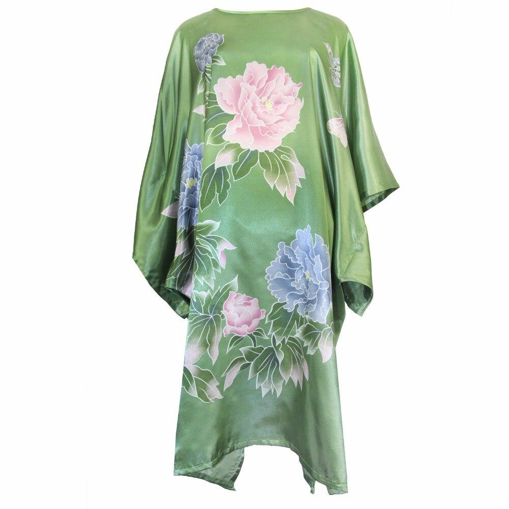 Plus Size Green Women Robe Rayon Sexy Home Dress Summer New Loose Nightwear Printed Flower Nightgown Chinese Vintage Kaftan