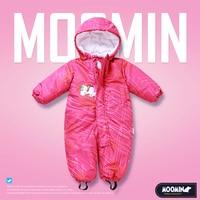 Moomin 2018 New arrival infant pink winter waterproof romper girls cartoon zipper hooded long sleeve warm infant boys romper