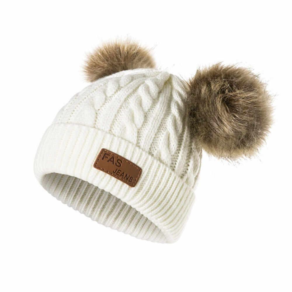 Милые зимние мама для женщин вязаный крючком вязанные шапки кепки Дети для девочек и мальчиков Шерсть Мех животных поплавок мяч помпонами Шап