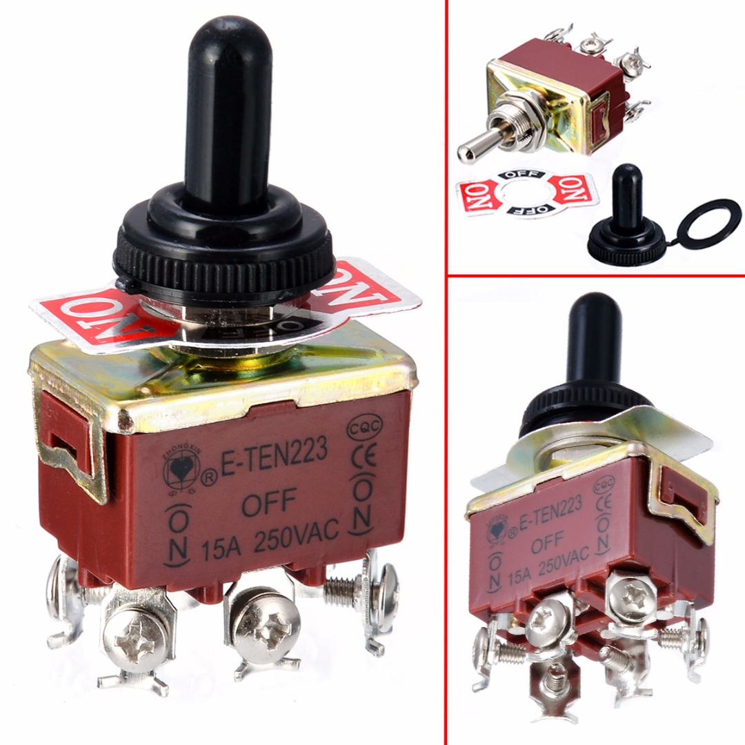1pc Mayitr Electric Toggle Switch 6 Pin DPDT 3 Position Momentary (ON)-OFF-(ON) Switches With Waterproof Cap AC 250V 15A