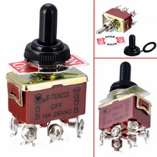 цена на 1pc Mayitr Electric Toggle Switch 6 Pin DPDT 3 Position Momentary (ON)-OFF-(ON) Switches With Waterproof Cap AC 250V 15A