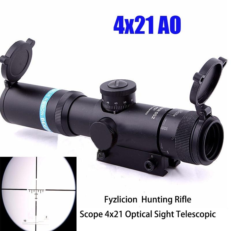 Tactical Rifle 4x21 Optical Sight Telescopic Anti-fog Mask Range 11mm Scope 1/4MOA Fingertip Wind Speed and Elevation Adjustment