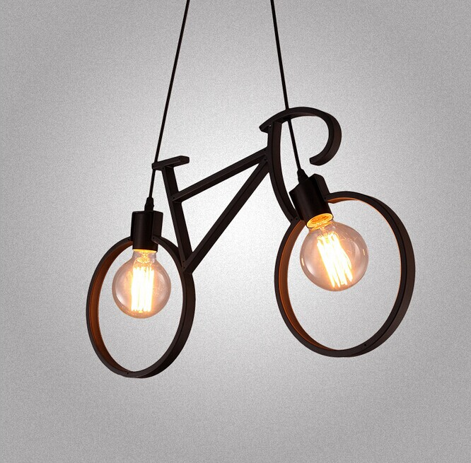 Northern Europe Creative Personality Bicycle Iron Chandelier Art Restaurant Children Room Bedroom Decoration Lamp simple post modernity iron restaurant bar cafe originality personality northern europe annular hall chandelier freeshipping