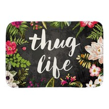 Thug Life Home Welcome Doormat Flowers Decor Door Mats For Living Room Bedroom Soft Short Plush Fabric Indoor Outdoor Floor Mat