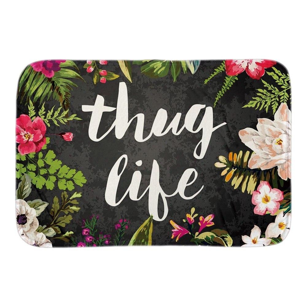 Thug Life Home Welcome Doormat Flowers Decor Door Mats For Living Room Bedroom Soft Short Plush Fabric Indoor Outdoor Floor Mat