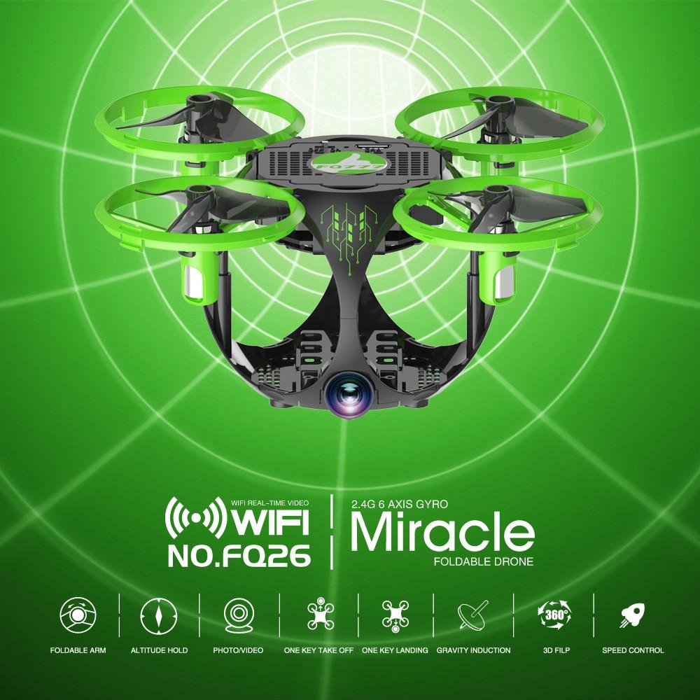 FQ26 WiFi FPV Mini Drone Quadrocopter with Camera 0.3MP Altitude Hold G-sensor Foldable Dron Quadrupter APP Phone Control RTF (16)