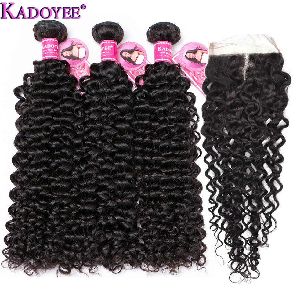 Jerry Curly Human Hair Bundles With Closure 4 pcs/lot Brazilian Hair Weave Bundles With Closure Remy Hair Extensions For Women