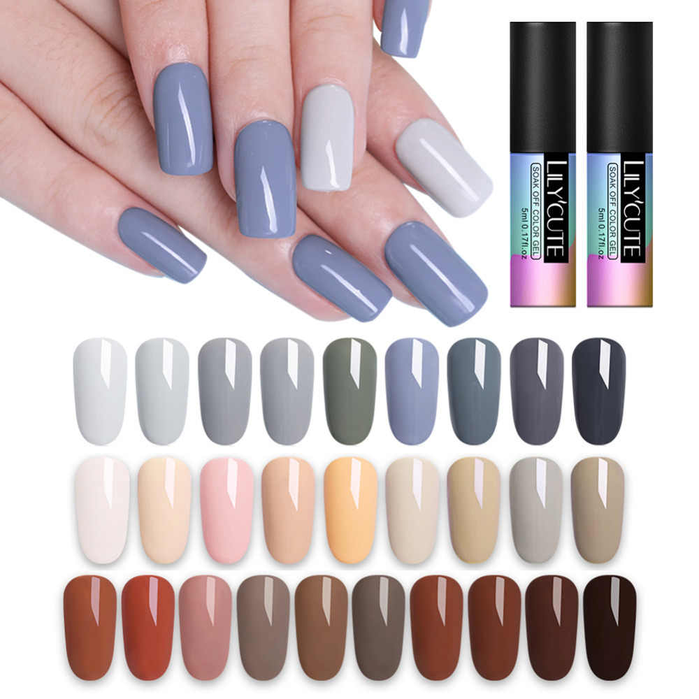 LILYCUTE Grey Brown Black White Nail Art Gel 5ML Pure Gel Color UV LED Nail Polish Long-lasting Soak off Varnish Gel Lacquer
