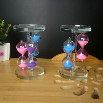 moda crystal triple vidrio reloj de arena de escritorio del partido de navidad decoracin artesanal decoracin