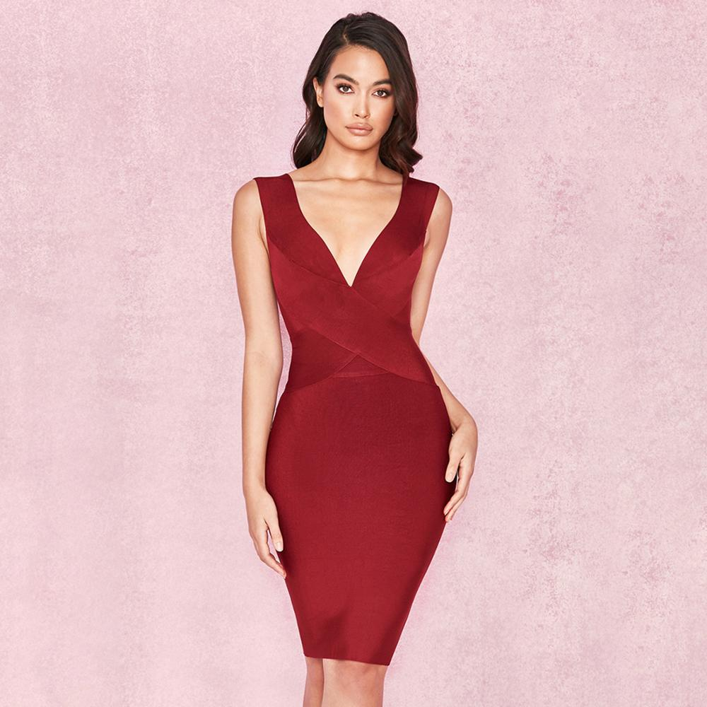 2018 Fashion Women V Neck Strap Wine Red Bandage Bodycon Dress Sexy Knee Length Party Club Dress burgundy XL