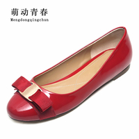 Plus Size 35 43 2016 New Spring Shoes Bowtie Sweet Fashion Women S Square Heel Ladies