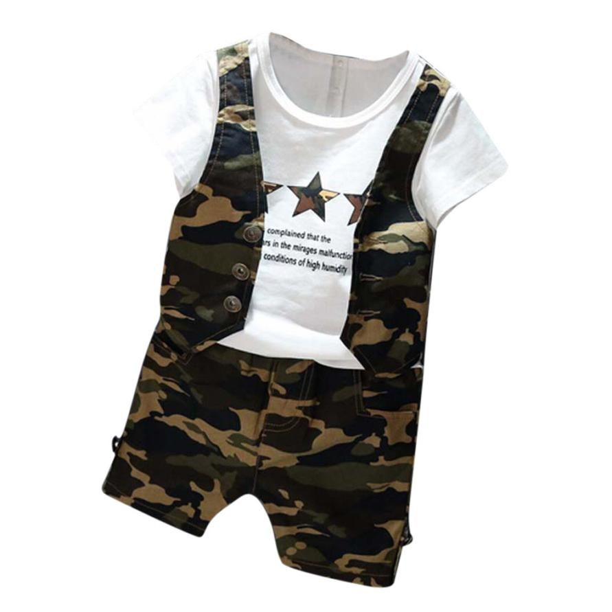2017 Hot Selling Summer Comfy Kids Clothing Toddlers Baby Boys Camouflage Short Sleeve Tops T-shirt Pants Outfits Set D40