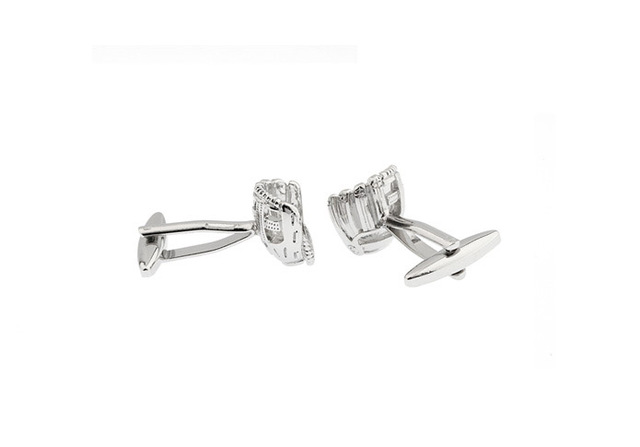 Igame Men's Cuff Links Novelty Silver Color Baseball Gloves Design Brass Material