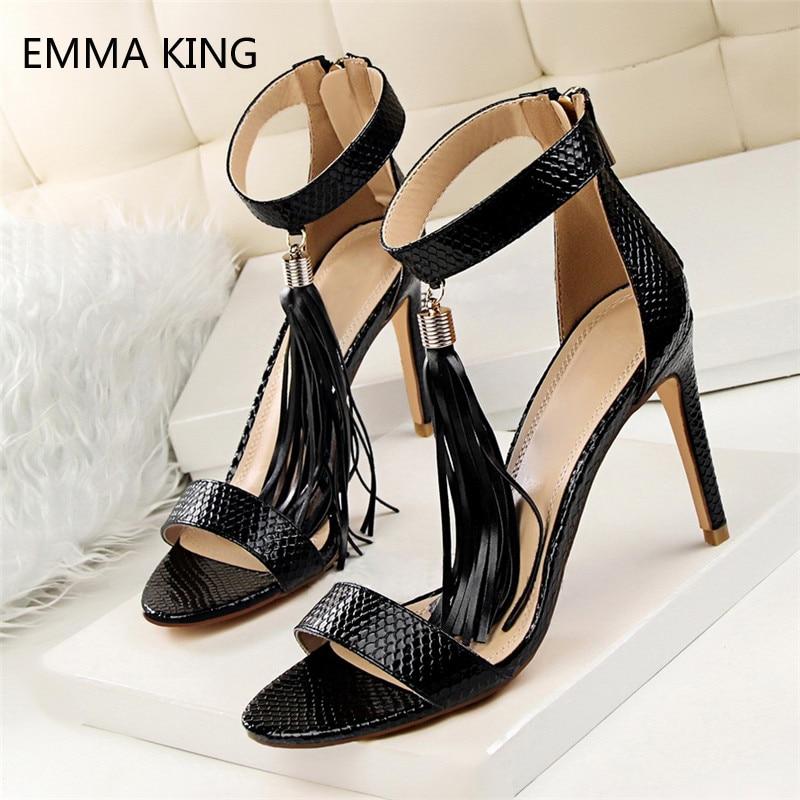 Summer Gladiator Sandals Women Shoes Sexy Stiletto Heels Peep Toe Tassel High Heels Snake Leather Print Buckle Sandals Female