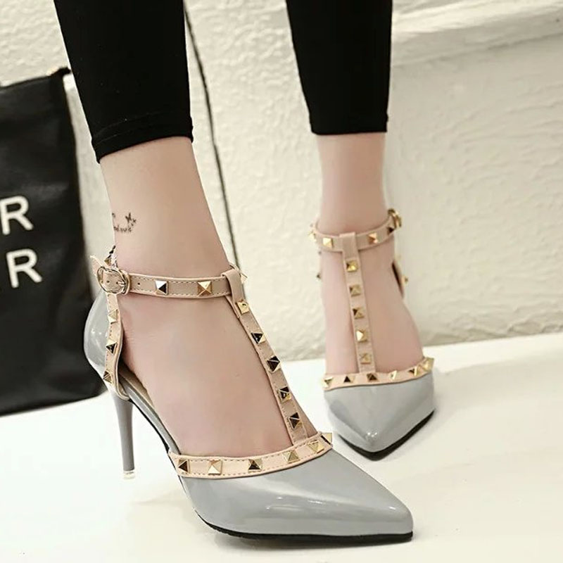 2016 Summer Sandals Women Fashion Rivet High-Heeled Shoes T-tied Wedding Sandals Thin Heels Pumps Slippers Valentine Shoes Woman цена 2017