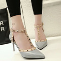 2016 Summer Sandals Women Fashion Rivet High-Heeled Shoes T-tied Wedding Sandals Thin Heels Pumps Slippers Valentine Shoes Woman