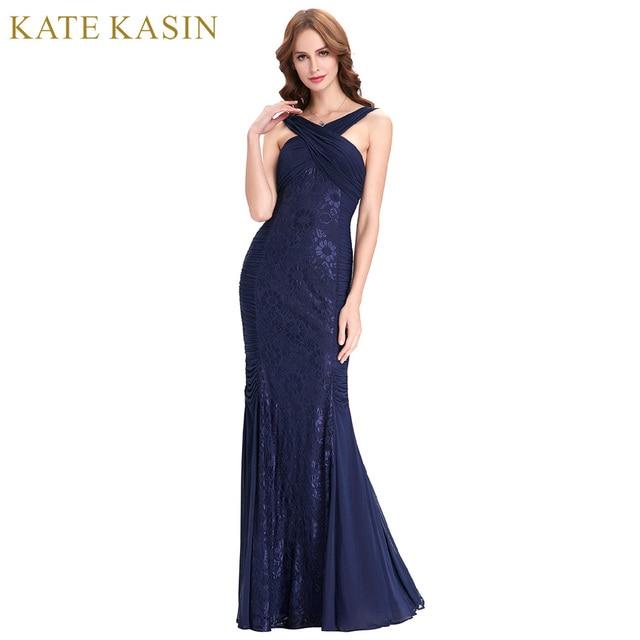 Aliexpress Buy Kate Kasin Navy Blue Long Evening Dress 2018