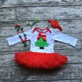 2016 free shipping baby girls Christmas day tree long sleeve infants gift tutu romper party dress with matching bow and necklace