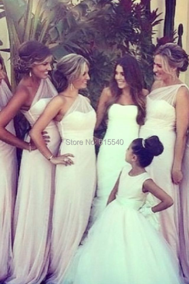 Fashion One Shoulder A-Line Party Dresses Pleated Sleeveless Custom Made Formal Long Bridesmaid - FashionLive store