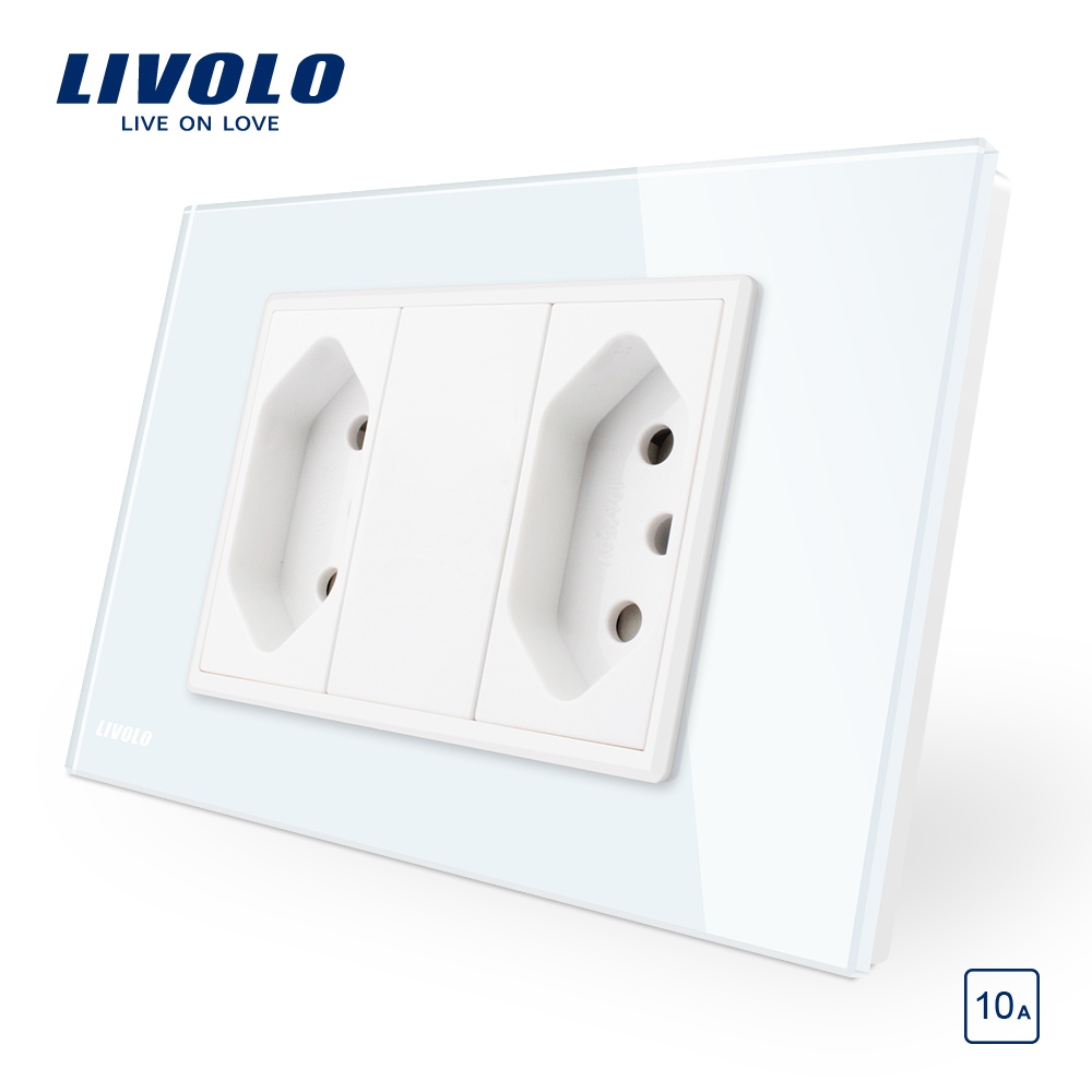 Livolo Brazilian/Italian Standard 2gangs 3 Pins 10A Socket,  Glass panel Without Plug,  C9C2CBR1-11/12Livolo Brazilian/Italian Standard 2gangs 3 Pins 10A Socket,  Glass panel Without Plug,  C9C2CBR1-11/12