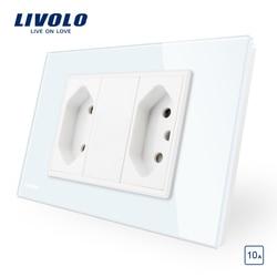 Livolo padrão brasileiro/italiano 2 gangues 3 pinos 10a soquete, painel de vidro sem plugue, C9C2CBR1-11/12