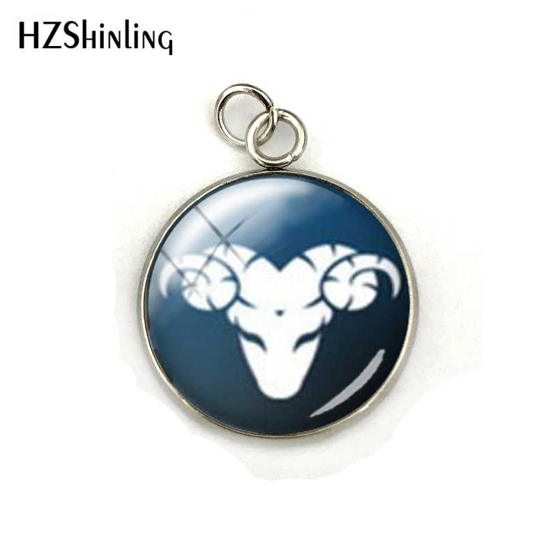 12 Zodiac Symbol Pendant Statement Handmade Fashion Dome Glass Round Cabochon Charm Jewelry For Women Men