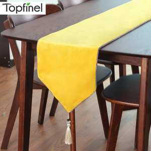 Topfinel Modern Wave Geometric Table Runners Cloth Cotton with Tassels Dining Decoration for Wedding Dinner Party Gray Color