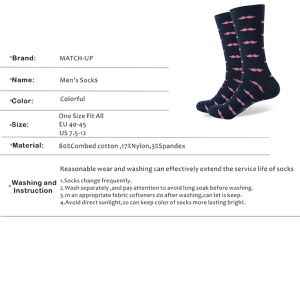 Image 3 - Match Up Men Cartoon Cotton  Socks  Art Patterned Casual Crew Socks 5 Pack Shoe Size 6 12