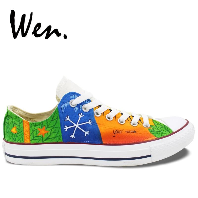 Вэнь ручная роспись красочные унисекс обувь индивидуальный дизайн повседневная обувь Снежинка лапа плеер Низкий Топ парусиновая обувь для...