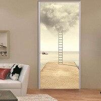3D Ladder Smoke DIY 3D Door Stickers PVC Material Waterproof Doors Poster Wall Decal Sticker For Living Room