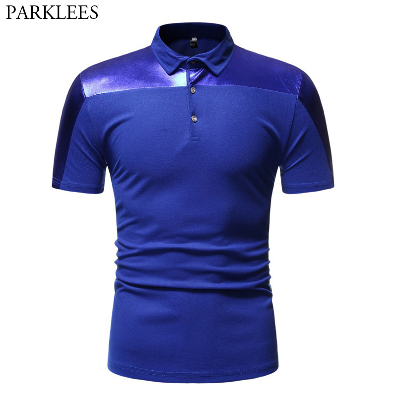 Royal Blue Short Sleeve   Polo   Shirt Men 2019 Fashion Shiny Coated Metallic Patchwork Hip Hop   Polo   Homme Party Nightclub Men   Polos